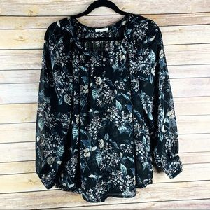 Pleione Sheer Floral Print Long Sleeve Blouse